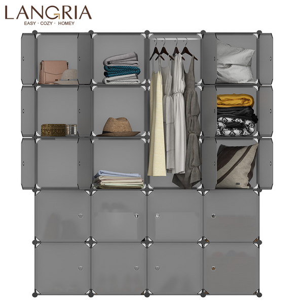 LANGRIA 20 Cube Assembly Simple Closet Plastic Cube Mutiluse Modular Storage Organizers Modern Shoes Cabinet Gray Home Furniture