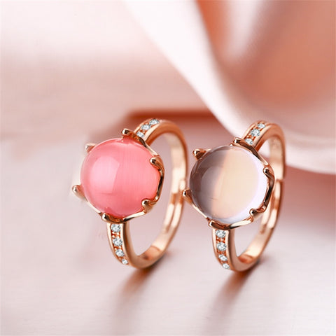 MOONROCY Rose Gold Color CZ Sweet Ross Quartz Crystal Pink Opal Jewelry Rings