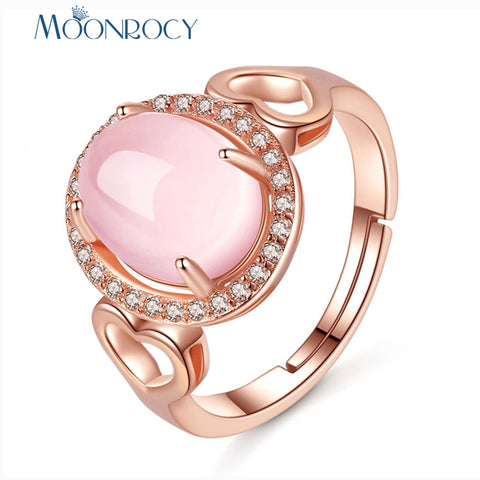 MOONROCY Rose Gold Color CZ Ross Quartz Ring