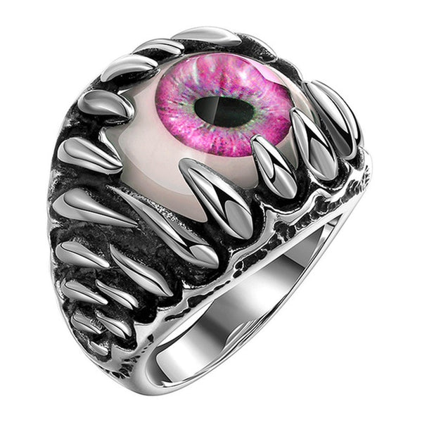 Men's Gothic Evil Eye Ball Design Charm Ring Punk Finger Jewelry Gift Stainless Steel Rings Men Fashion Jewelry New Arrival