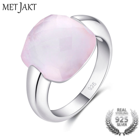 Authentic Natural Rose Quartz Square Stone 925 Sterling Silver Ring Fine Jewelry