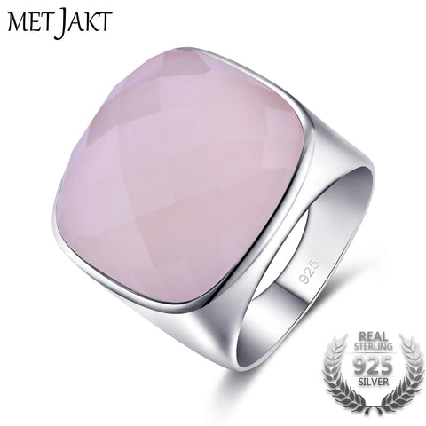 Genuine Natural  Rose Quartz Square Stone 21.24ct Ring Solid 925 Sterling Silver Fine Jewelry
