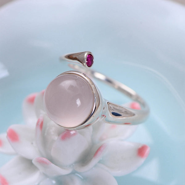 MetJakt Natural 1cm Rose Quartz with Ruby Solid 925 Sterling Silver Open Ring for Women
