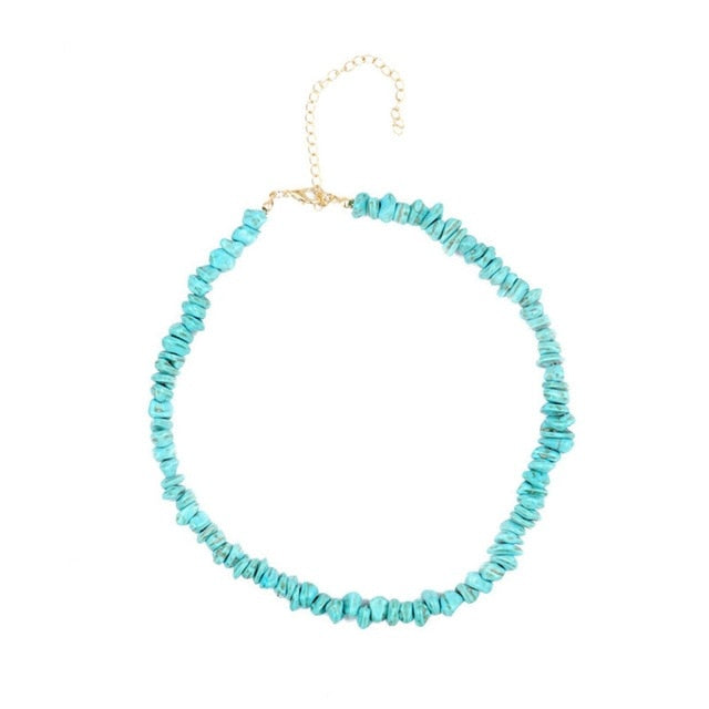 New Bohemian Green Turquoise Beaded Choker Necklace For Women Jewelry