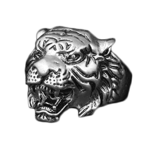 New Design Personality European fashion Animal Tiger Head Ring Men Personality Unique Men's Animal Jewelry