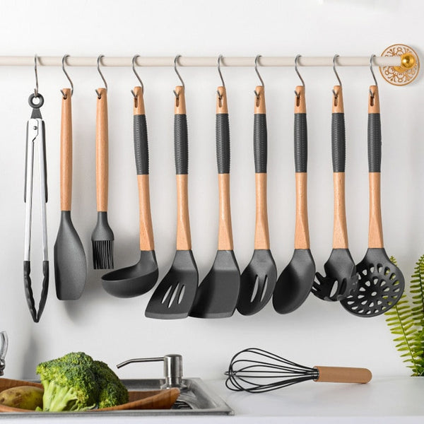 Non-stick Silicone Cooking Utensils Set Wooden Handle Heat-resistant Spatula Shovel Spoon Colander Cooking Tool Set Kitchen Tool