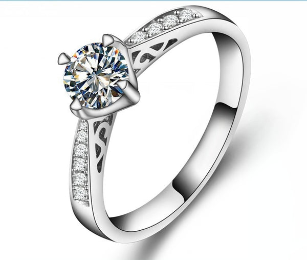 SONA Round Cut Diamond Sterling Silver Ring Engagement Set
