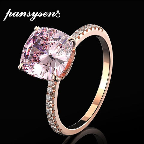 PANSYSEN 18K Rose Natural Pink Quartz Diamond Women Fine Jewelry Ring
