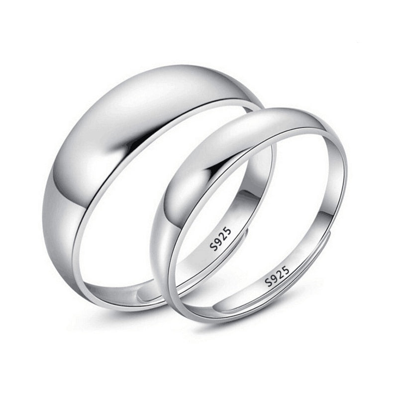 Real Pure 925 Sterling Silver Rings For Women And Men Simple Ring Smooth High Polishing Wedding Band Ring For Lovers Couples