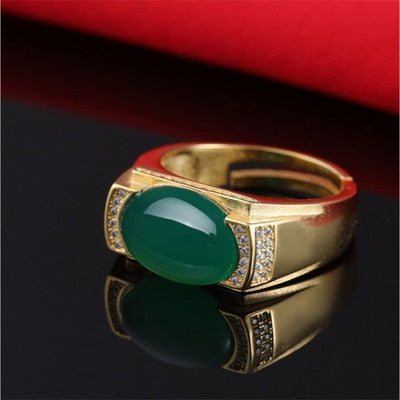 S925 pure silver ring rose gold emerald ring natural jade jade jade myelin men and women sand gold diamond diamond ring