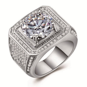 Silver Micro Pave Rhinestone Iced Out Bling Big Square Ring Men's Hip Hop Punk Style Wedding Jewelry Anel Bijoux L5K458