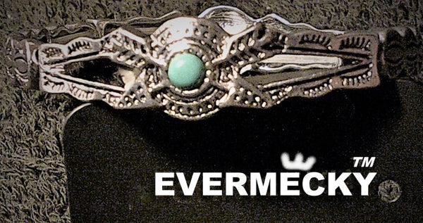 EVERMECKY Turquoise Stretch Band Metal Alloy Bracelet