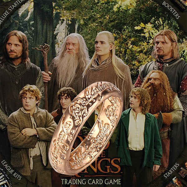 The One Ring Sauron Elves Frodo Baggins Gollum Tolkien Letters Gold Silver Color Fashion Movie Film Jewelry Men Women Wholesale