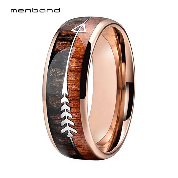 Tungsten Wedding Bands For Men Women Rose Gold Engagement Rings Domed Band Koa Wood And Arrow Inlay