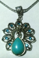 Turquoise and Green Rhinestone Peacock Necklace and Earring Set