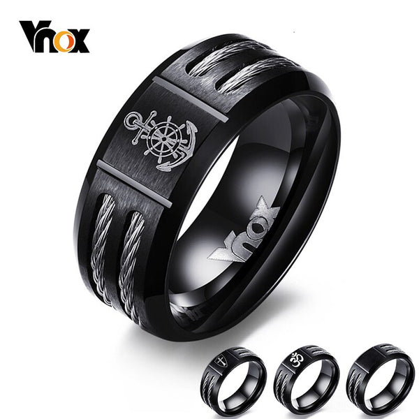 Vnox Men's Rudder Ring Personalize Cool Black Stainless Steel Wia Men Jewelry dropshipping Unique Male Gift