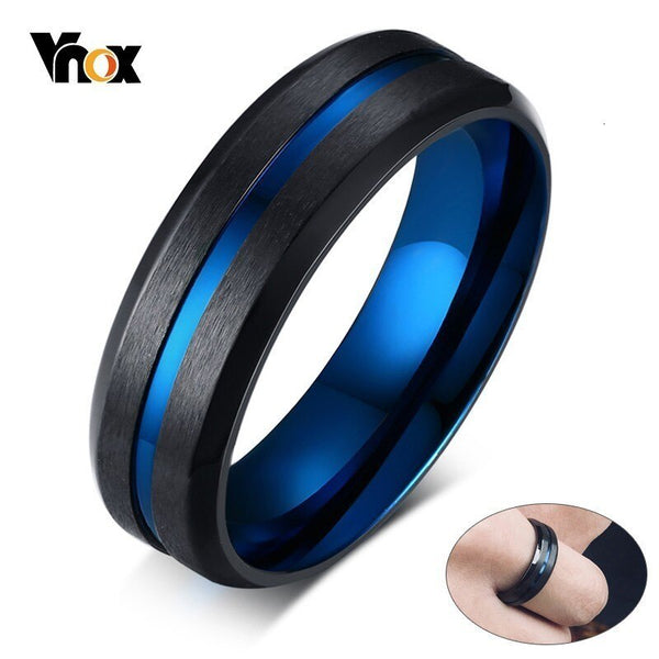 Vnox Unique Thin Blue Line Mens Ring Matte Finished Stainless Steel anillo masculino Gentleman Gifts Accessories