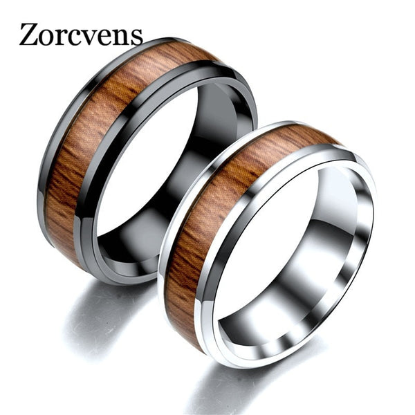 ZORCVENS Stainless Steel black White ring with dark red wood inlay inside ring men unique fashion engagement jewelry