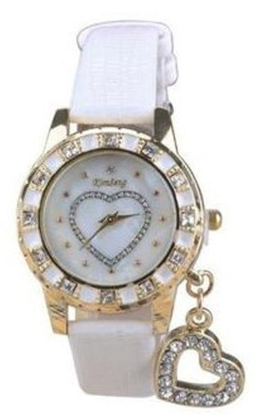 Women Heart Pearl and Rhinestone Designer Wrist Watch with Charm by Kimsung