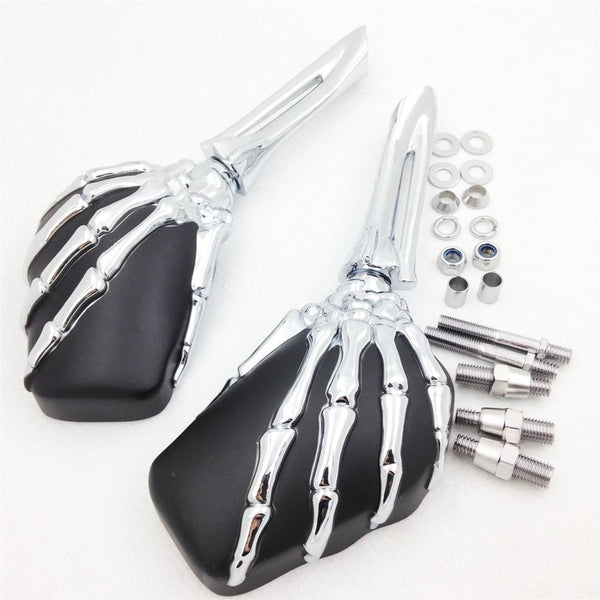 Motorcycle Billet Aluminum Claw Skull Skeleton Mirrors For Harley Davidson Dyna Fat Boy