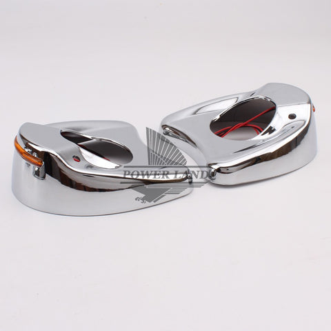 Motorcycle fairing mount Mirrors with amber LED lights
