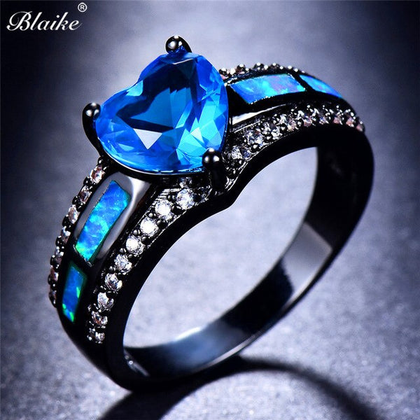 Blaike Aqua Blue Heart Zircon Ring Engagement Jewelry