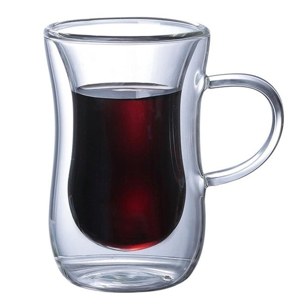 Double Wall Glass Cup Heat Resistant Tea Coffee Mug