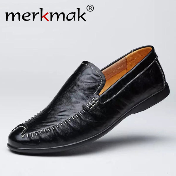 Merkmak Brand New Genuine Leather Men Loafers Flat Shoes