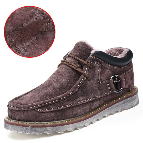 Merkmak Autumn Winter Genuine Leather Casual Men Snow Warm Boots