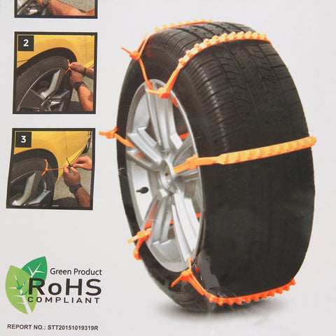Universal Yellow Nylon Adjustable Car SUV Snowblower Tire Chains