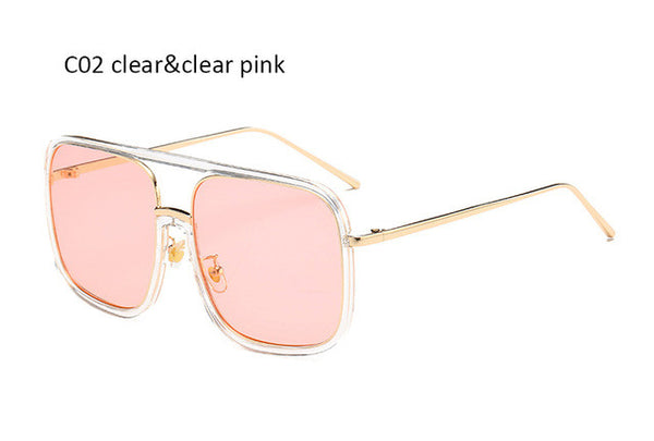 Fashion Clear Pink Oversized Square Sunglasses Women Brand Designer