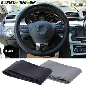Onever 1Pc DIY Car Steering Wheel Cover With Needles and Thread 2Color Diameter 38cm Car Styling PU leather Steering Wheel Cover