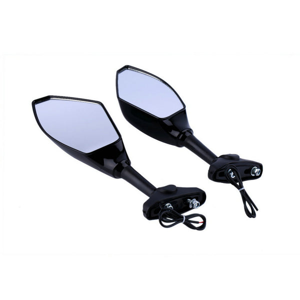 Universal Motorcycle LED Turn Signal Light Rearview side Mirror for honda for yamaha ATV motor Backup Mirror hot selling~
