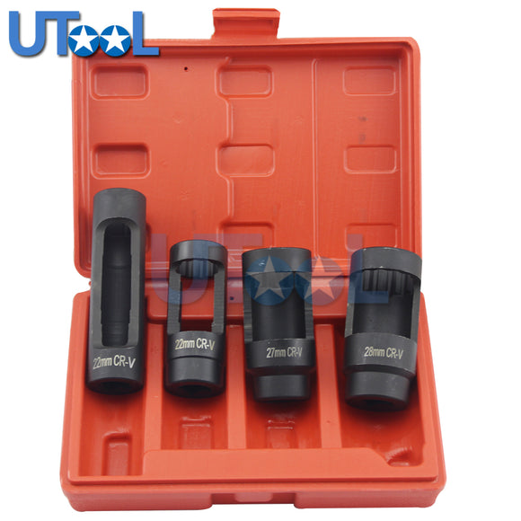 UTOOL 4pcs Euro-type Oxygen Sensor Socket Set Oxygen Sensor Removal Socket Wrench Tool Kit