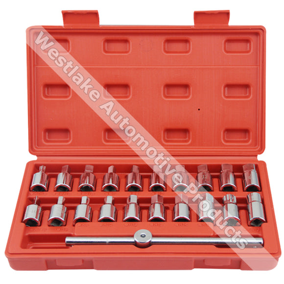 Oil Drain Plug Removal Tool Key Set Square Hexagon Socket Kit Nut Adaptor Tool 12PCS 18PCS 21PCS