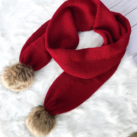 Red Wine Double Pom Scarf