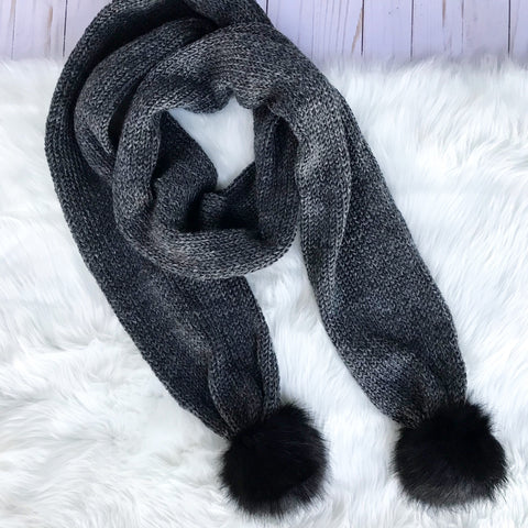 Charcoal Double Black Pom Scarf