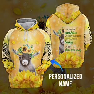 Sunflower goat 3D hoodie personalized name aanh29102001
