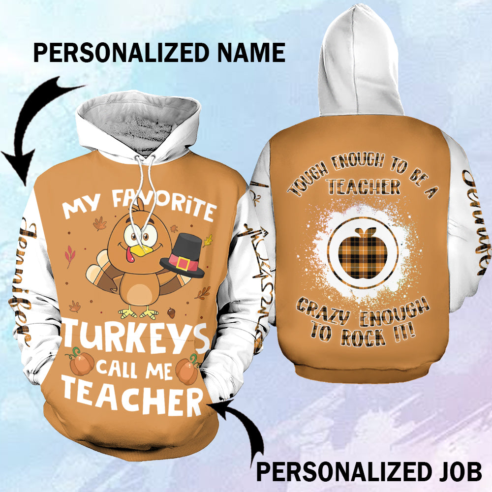 Thanksgiving teacher 3D Hoodie personalized name and job-aahn30102001