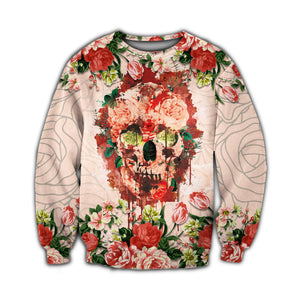 Skull and Flower 3D All Over Printed Hoodie, T-Shirt, Sweater