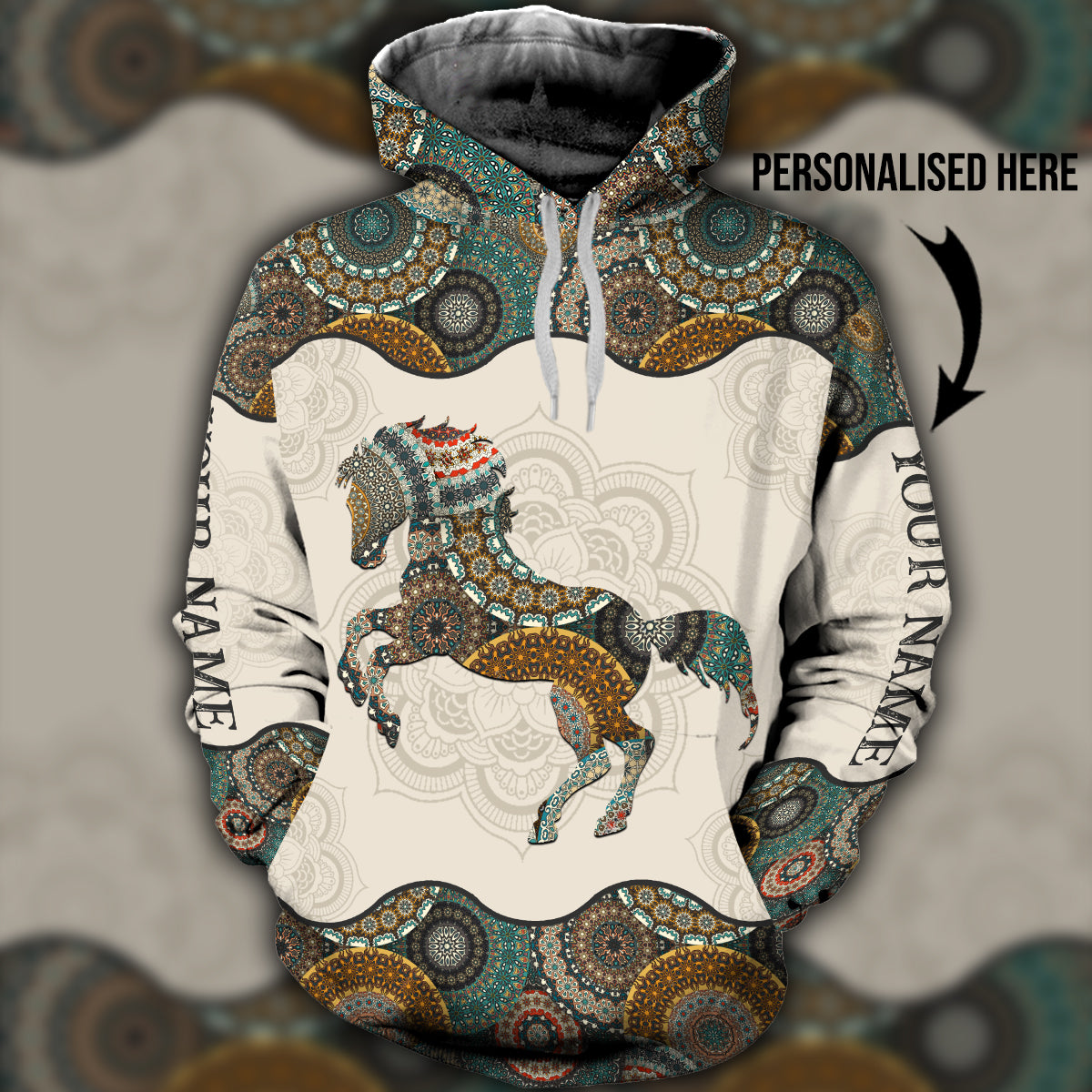 Horse hippie 3D hoodie customized name - aavh22102001