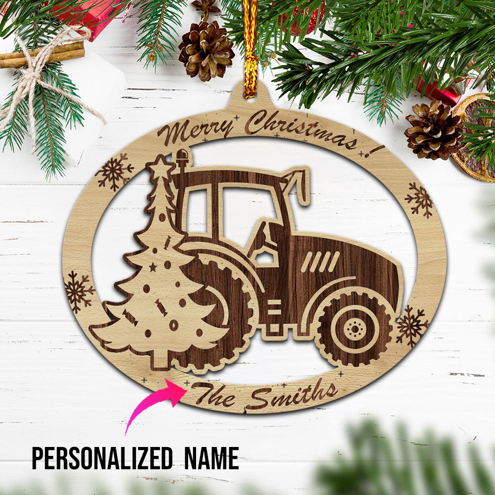Personalised Tractor Christmas Wooden Ornaments