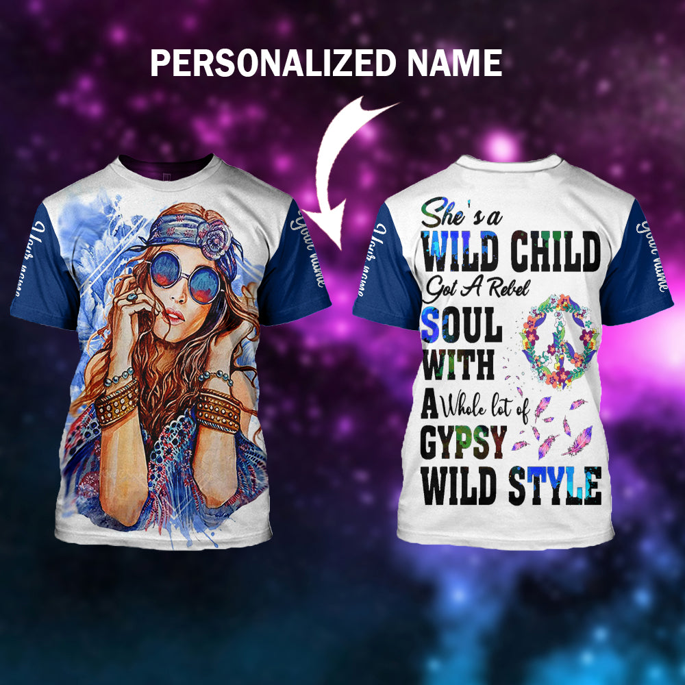 She's a Wild child Personalized name Hoodie/ T-shirt/ Sweater-aahn12102002