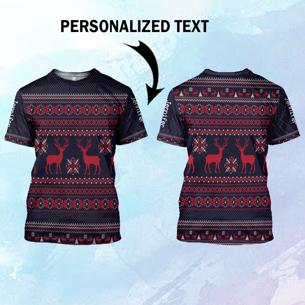 Ugly Snowflakes Reindeer 3D Customized T shirt, Sweater, Hoodie-blhn21102002