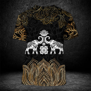 Gold Lotus Elephant 3D T shirt, Sweater, Hoodie