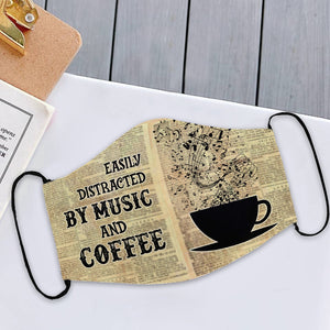 Easily distracted by music and coffee mask 3D All Printed for Adult