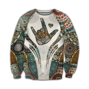 Sign Language Vintage Mandala 3D All Over Printed Hoodie, T-Shirt, Sweater