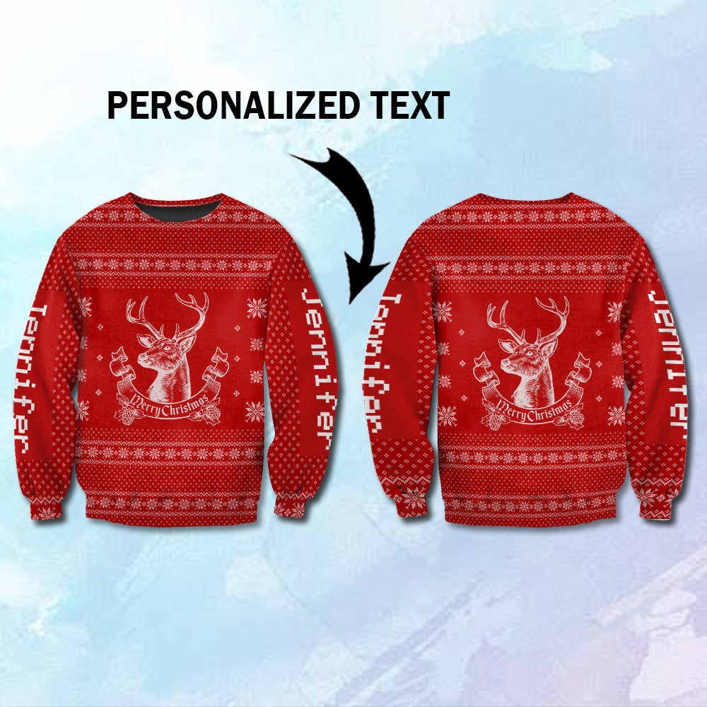 Ugly Reindeer Christmas 3D Customized T shirt, Sweater, Hoodie-blhn22102001
