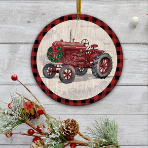 Red tractor Ornament-tavh09112012