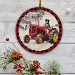 Red tractor Ornament-tavh09112014
